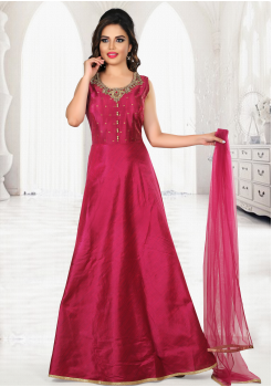 Ruby Red Color Party Wear Gown